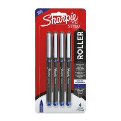 Sharpie Rollerball Pens - Blue, Pkg of 4, 0.5 mm