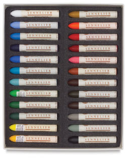 Sennelier Oil Pastels - Set of 24 Assorted Colors. Inner tray of pastels in two rows.