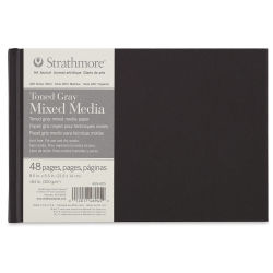 Strathmore 400 Series Hardbound Toned Mixed Media Artist Journal - Gray, 5-1/2'' x 8-1/2'', 48 pages