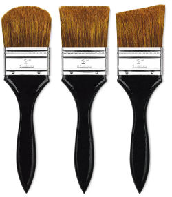 Dynasty Red-Letter Encaustic White Bristle Brush - Extra Long Flat, Long Handle, Size 2''