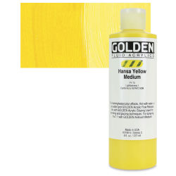 Golden Fluid Acrylics - Hansa Yellow Medium, 8 oz bottle