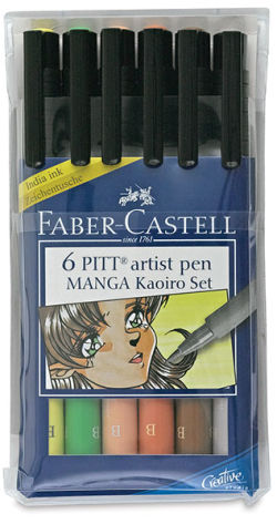 Faber-Castell Pitt Artist Pen Set - Kaoiro Manga, Brush Nib, Set of 6