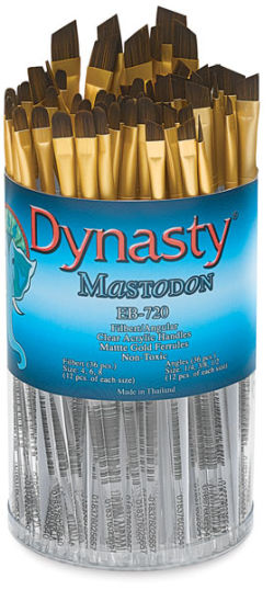 Dynasty Mastodon Synthetic Brush Canister - Filbert/Angle, Set of 84