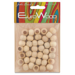 John Bead Euro Wood Beads - Natural, Round Large Hole, 12 mm x 9.8 mm, Pkg of 40