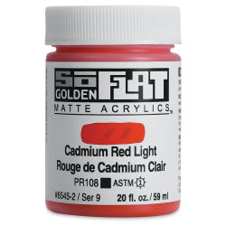 Golden SoFlat Matte Acrylic Paint - Cadmium Red Light, 59 ml, Jar