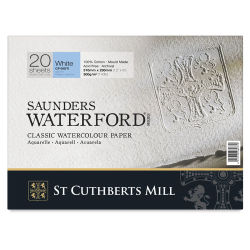 Saunders Waterford Block - 9'' x 12'', White, Cold Press, 140 lb (300 gsm), 20 Sheet Block