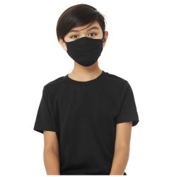 Bella Canvas Kids Reusable Face Mask - Black, Shown in use.