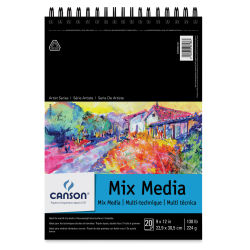 Canson Artist Series Mix Media Pad - , 9'' x 12'', Portrait, Wirebound, 20 Sheets
