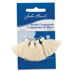 John Bead Cotton Tassels - Ivory, Pkg of 4