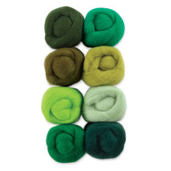 Wistyria Editions 100% Wool Roving - Jungle, Pkg of 8
