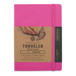 Pentalic Recycled Traveler's Sketchbook - 5-7/8'' x 4-1/8'', Pink