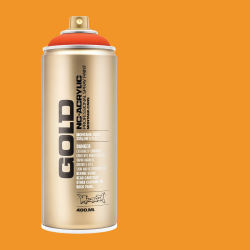 Montana Gold Acrylic Professional Spray Paint - Power Orange, 400 ml (Spray can with color swatch)