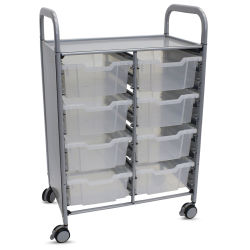 Gratnells Callero Storage Cart with 8 Deep Trays - Translucent