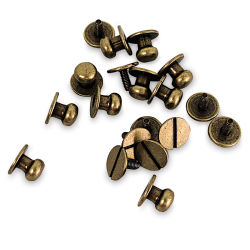 Realeather Button Studs - Antique Brass, Pkg of 10