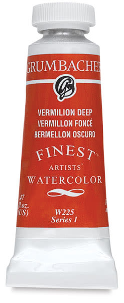 Grumbacher Finest Artists' Watercolor - Vermilion Deep, 14 ml tube