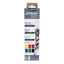 Pebeo Setacolor Fabric Paint - Light Fabrics, Set of 6