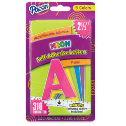 Pacon Self-Adhesive Letter Set with Guide - Neon Colors, 2-1/2''