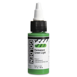 Golden High Flow Acrylics - Permanent Green Light, 1 oz bottle