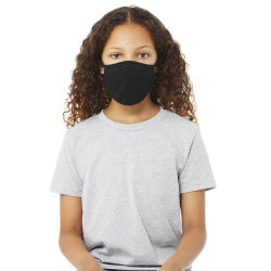 Bella Canvas Kids Reusable Face Mask - Black, Package of 5, Shown in use.