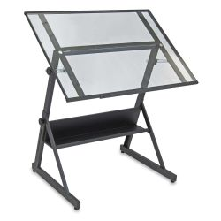 Studio Designs Solano Drafting Table - Charcoal with clear glass