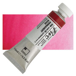 PWC Extra Fine Professional Watercolor - Permanent Rose, 15 ml, Swatch with Tube
