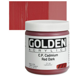 Golden Heavy Body Artist Acrylics - Cadmium Red Dark, 8 oz Jar