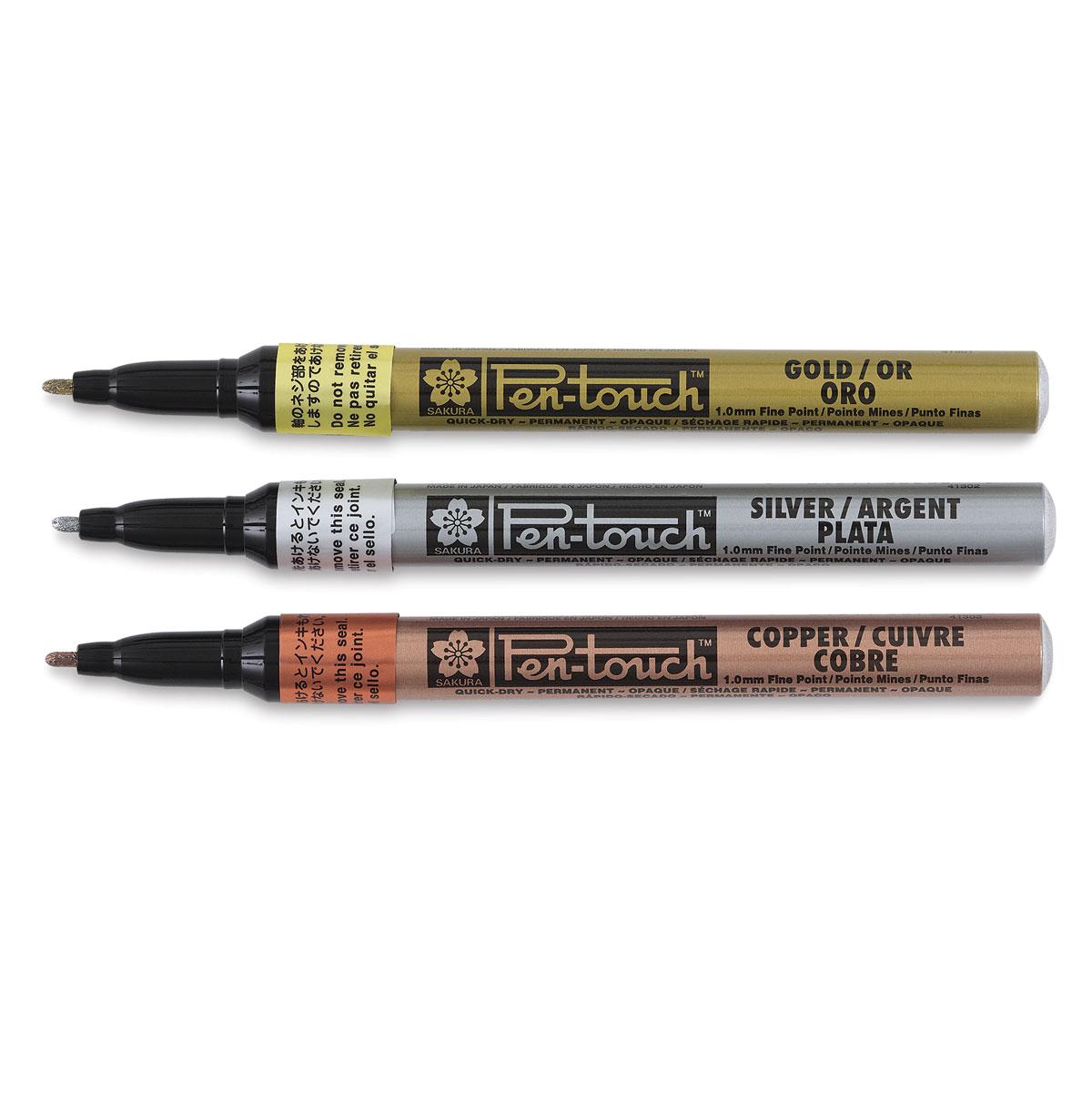 Lot 3 12 Pc Sakura Pen Touch Bullet Tip Paint Marker Gold Silver White 0.7 EF