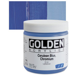 Golden Heavy Body Artist Acrylics - Cerulean Blue Chromium, 16 oz Jar