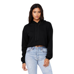 Bella + Canvas Cropped Fleece Hoodie - Black, Size Small