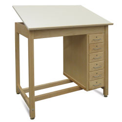 Hann Six-Drawer Wood Drawing Table