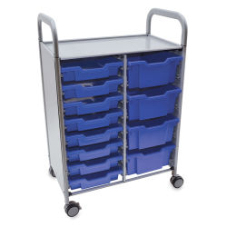 Gratnells Callero Plus Cart - Double Cart, 8 Shallow and 4 Deep Trays,Royal Blue