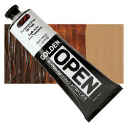 Golden Open Acrylics - Transparent Brown Iron Oxide, 5 oz Tube with Swatch