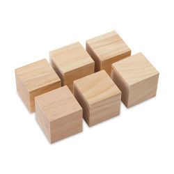 Darice Unfinished Wood Blocks and Cubes - Set of 6, 1-3/4'' square