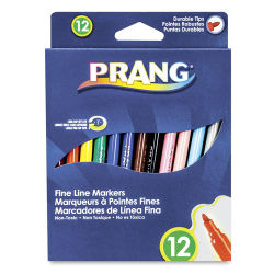 Prang Fine Line Marker Set - Assorted Colors, Set of 12
