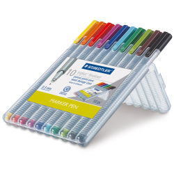 Triplus Fineliner Pen-Assorted, Set of 10  Open Package with Pens