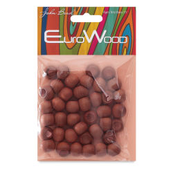 John Bead Euro Wood Beads - Light Brown, Round, Large Hole, 12 mm x 9.8 mm, Pkg of 40