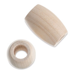 John Bead Euro Wood Beads - Natural, Oval, Large Hole, 22 mm x 33 mm, Pkg of 6