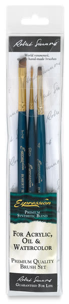 Robert Simmons Expression Brush Set - Extra Short Handle, Set of 3