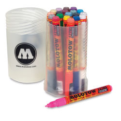 Molotow One4All Acrylic Markers -  Set of 20 with Screw Top Container, 1.5 mm and 2 mm tips