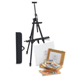 Utrecht Artists' Oil Paint Set, Deluxe Wood Box & Easel Kit