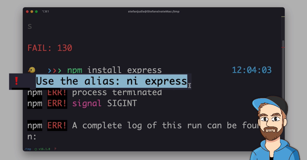 Terminal session in which the aliases-tips ZSH plugin prints that there is a defined alias to run a particular command.