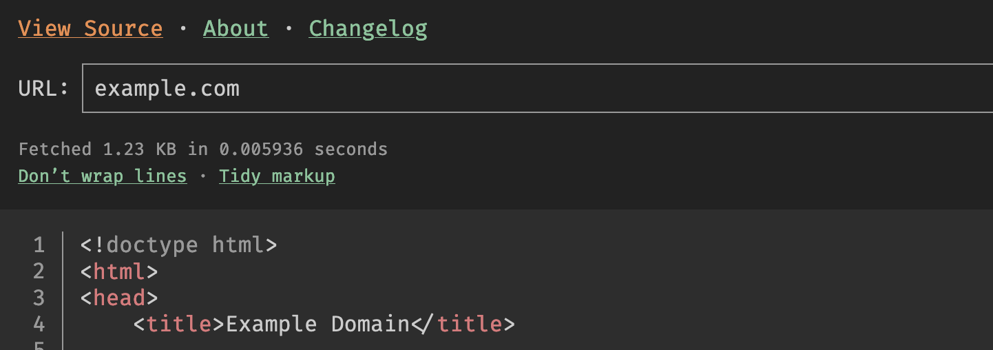View source interface: Drop in a URL and view the source