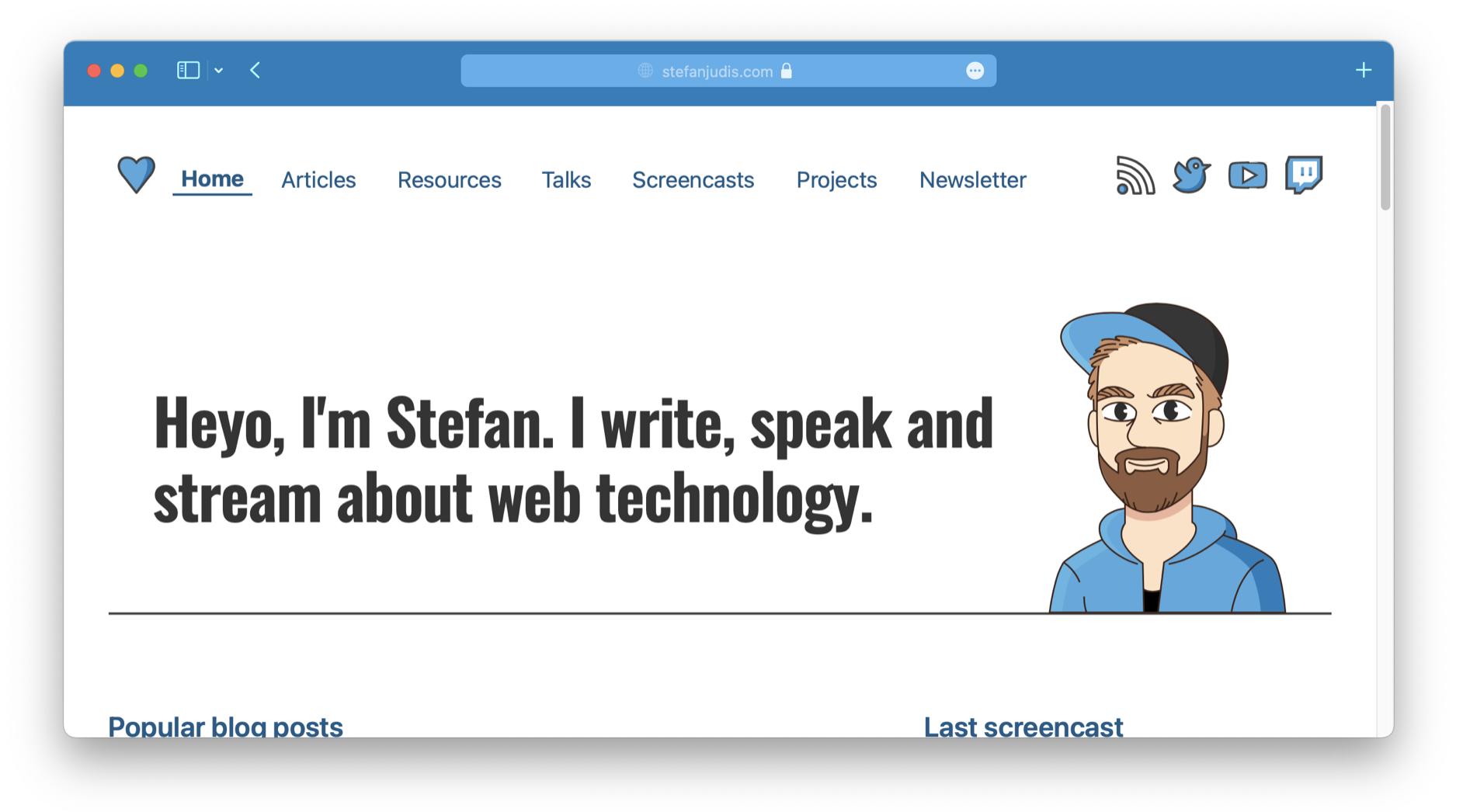 Screenshot of stefanjudis.com with a colorful Safari nav bar