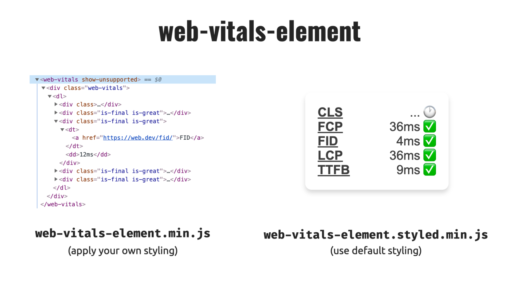 Web-vitals-element example showing an unstyled and a styled version depending on what file is loaded