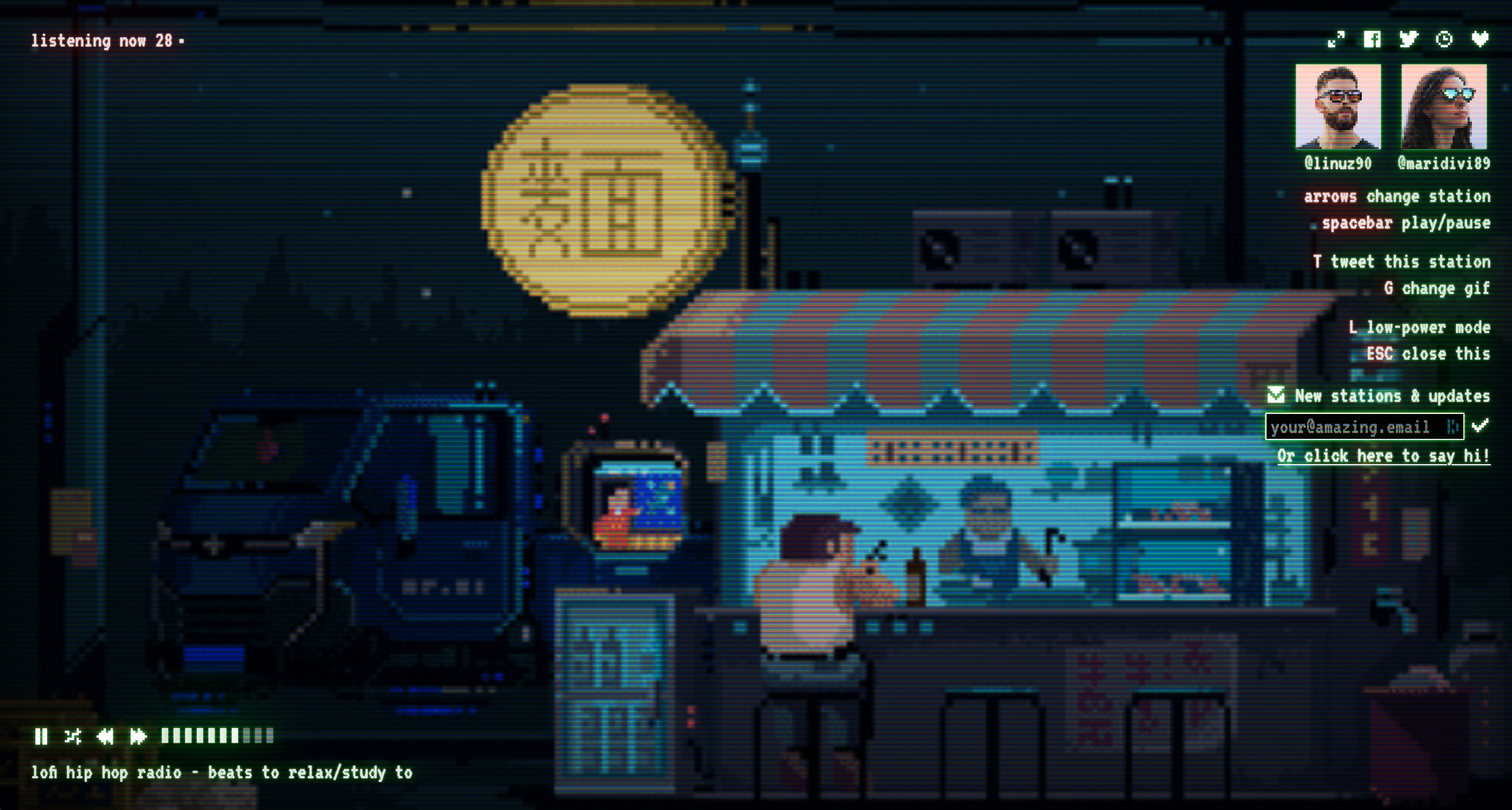 lofi.cafe showing a soothing gif while playing some music