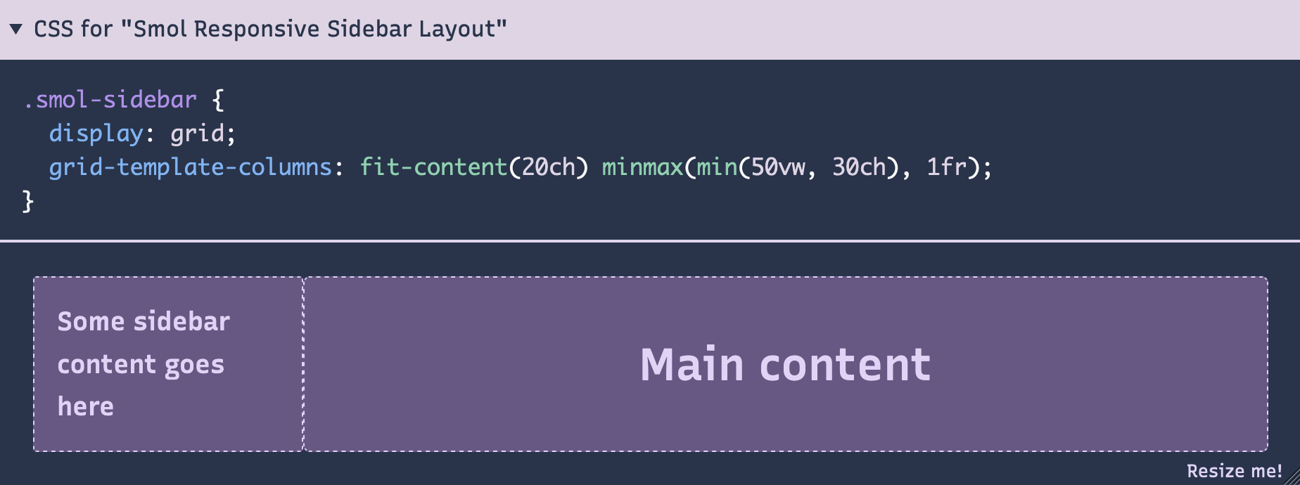 Example from smolcss showing a sidebar layout