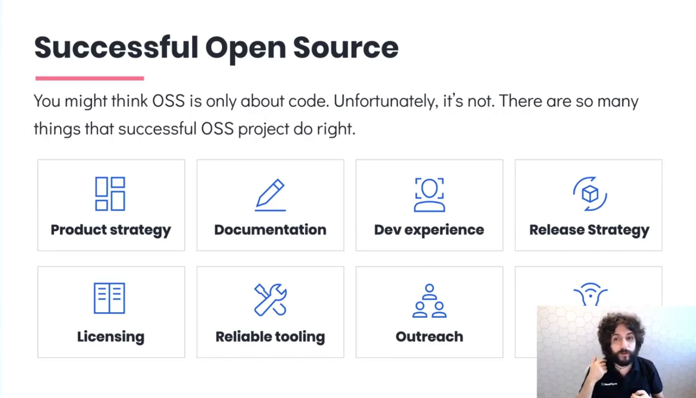 """Matteo in front of a slide titled """"Successful Open Source"""""""