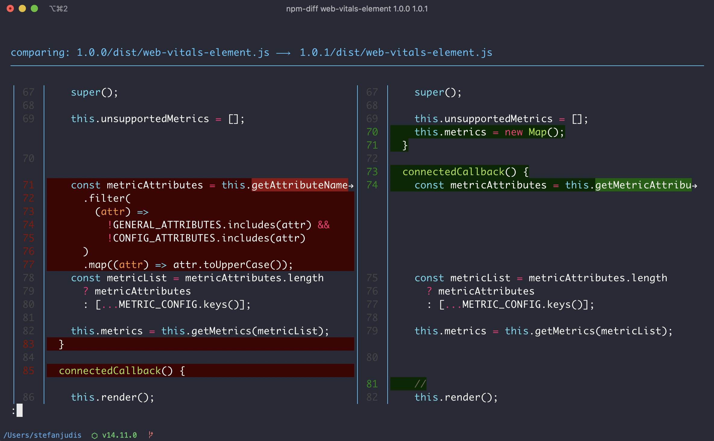 CLI output of npm-diff using delta