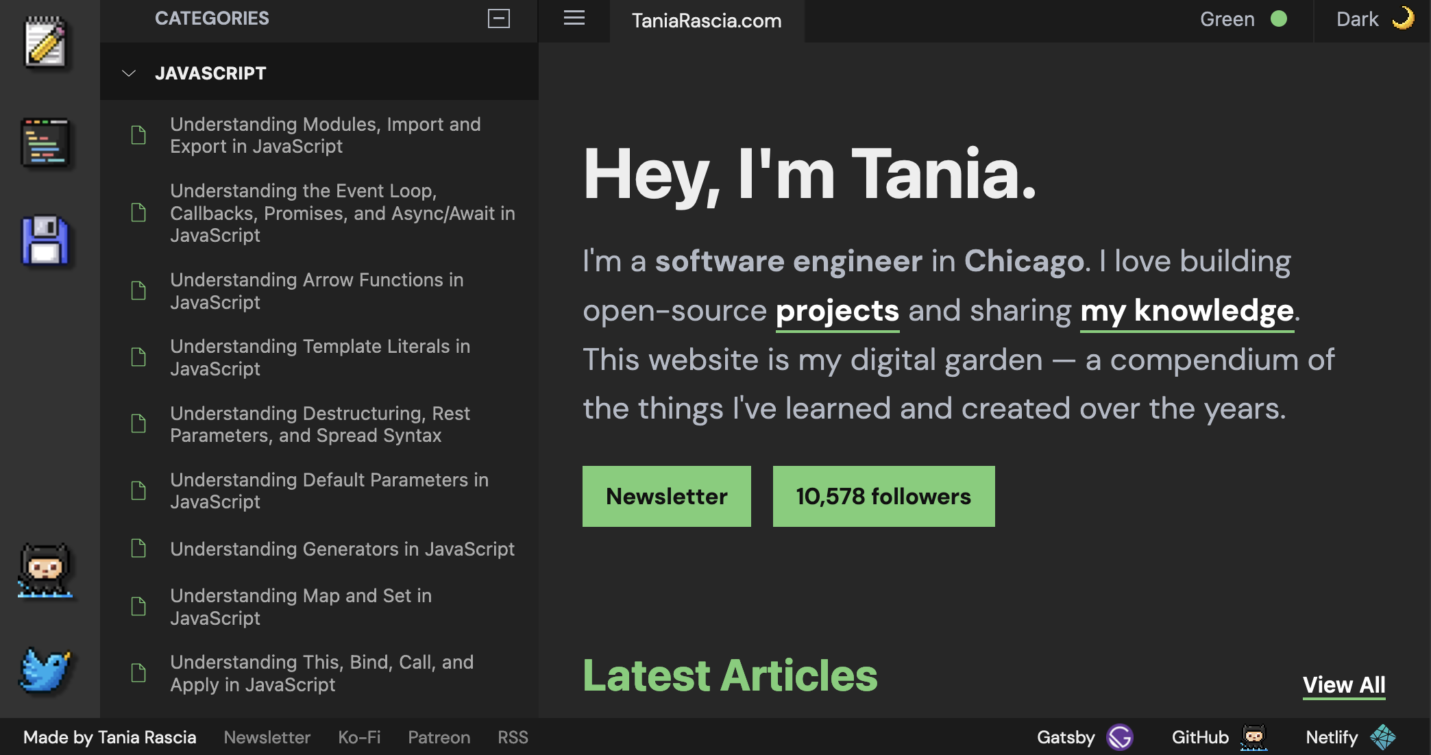 Tania's website being styled like VS Code