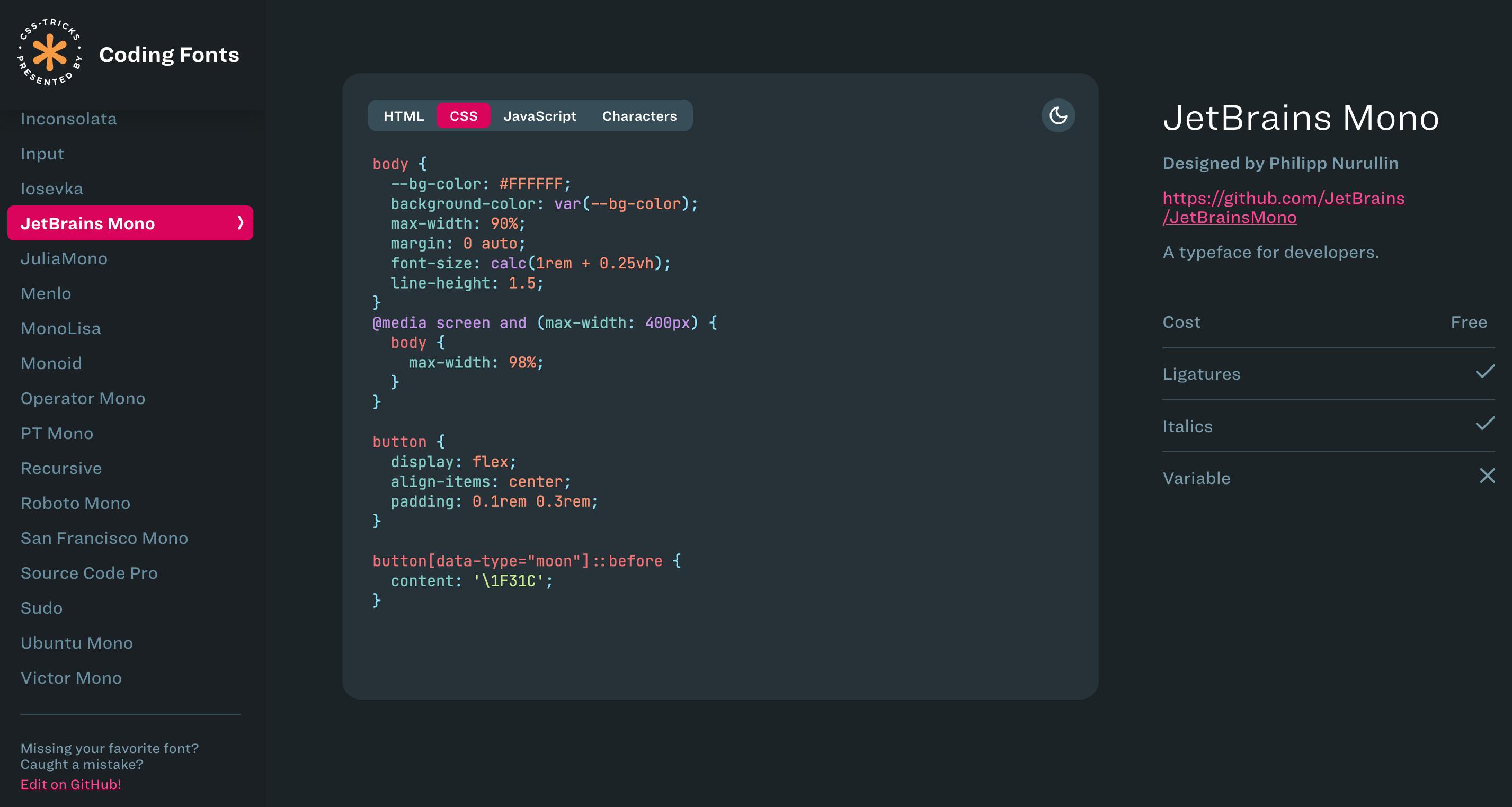 Coding fonts on css-tricks.com